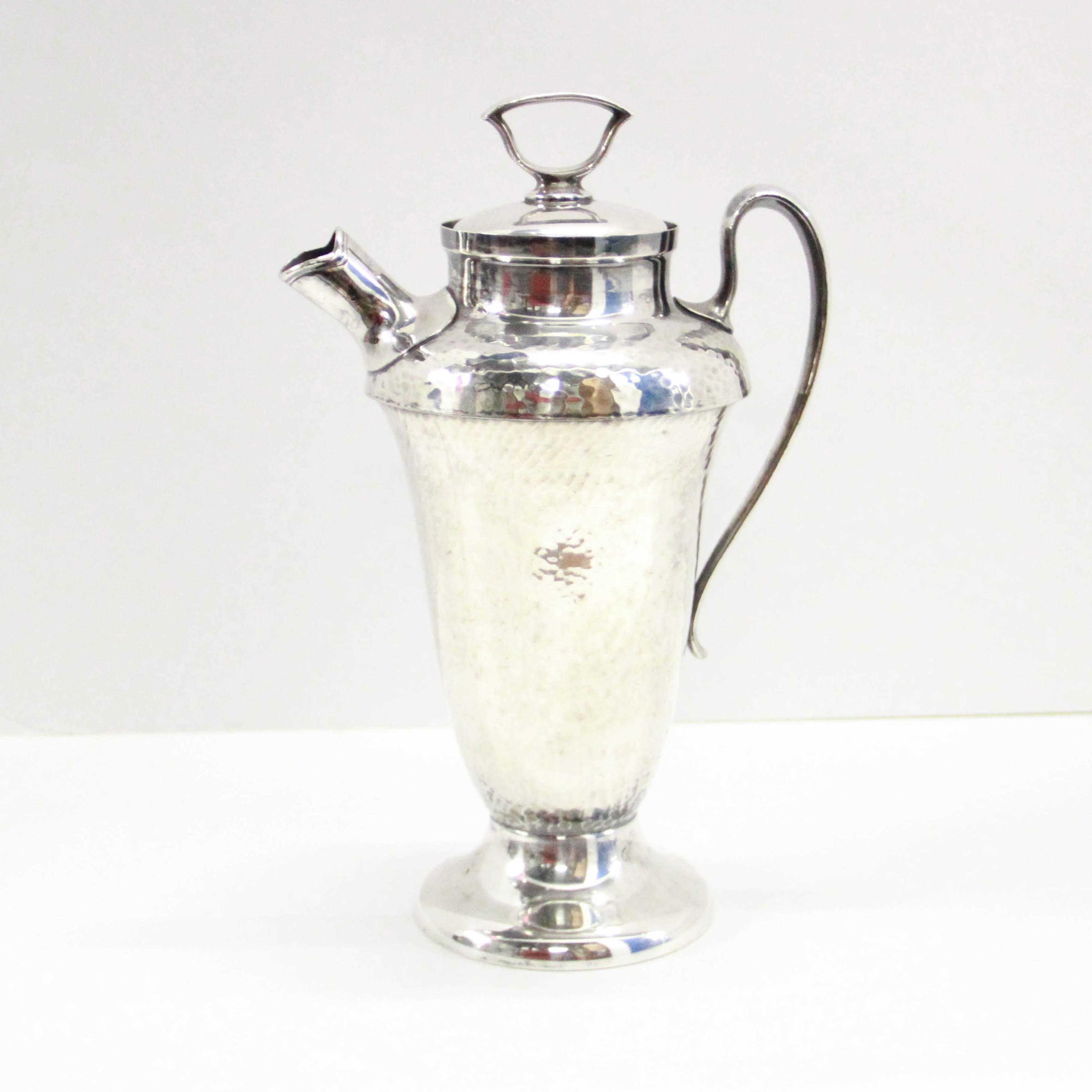 Vintage Silver Plate Hammered Cocktail Shaker
