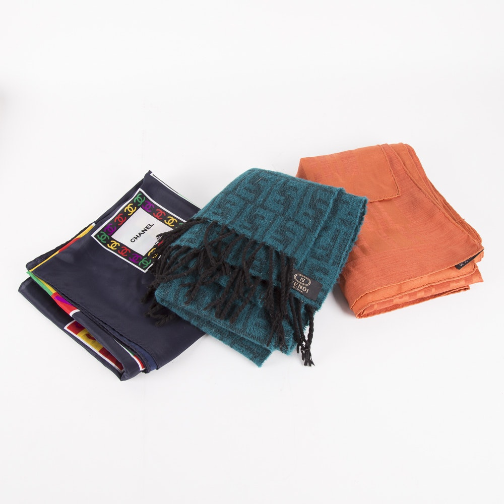 Hermès, Chanel and Fendi Scarves