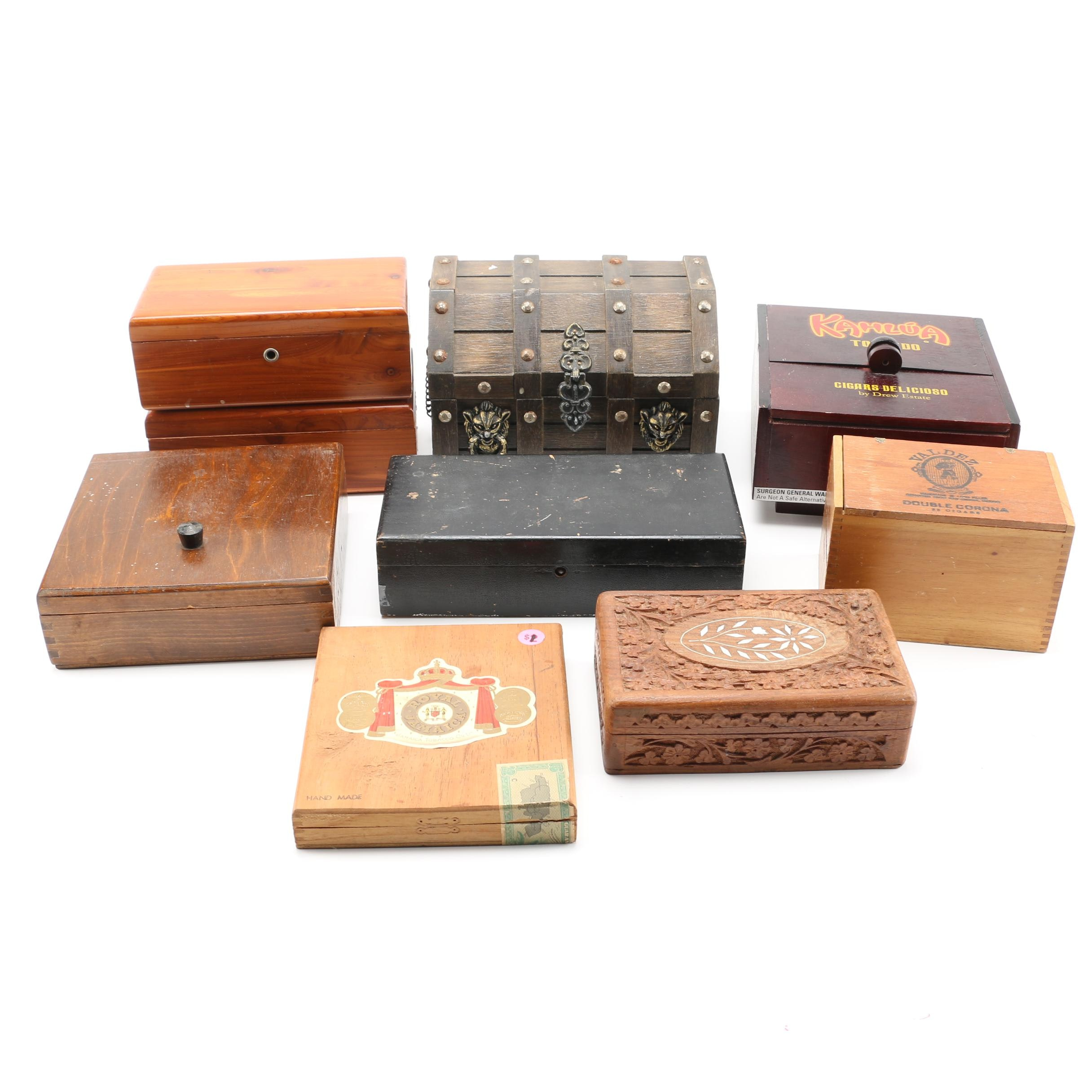 Nine Wooden Boxes Including Cigar Boxes
