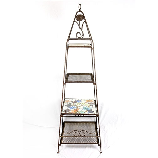 Metal Etagere With Stained Glass Shelves
