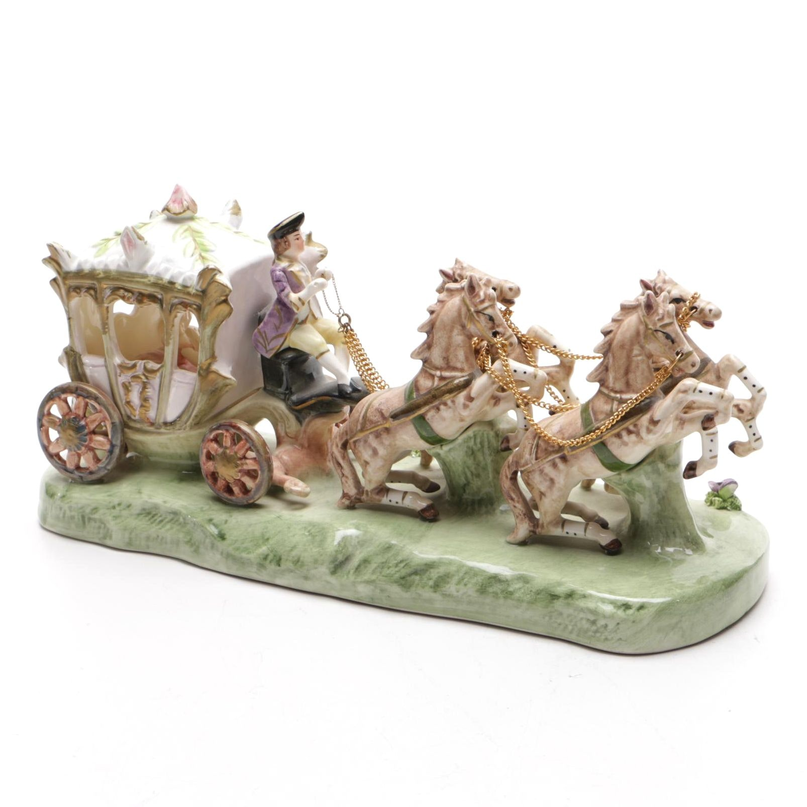 Cinderella and Carriage Figurine by Capodimonte