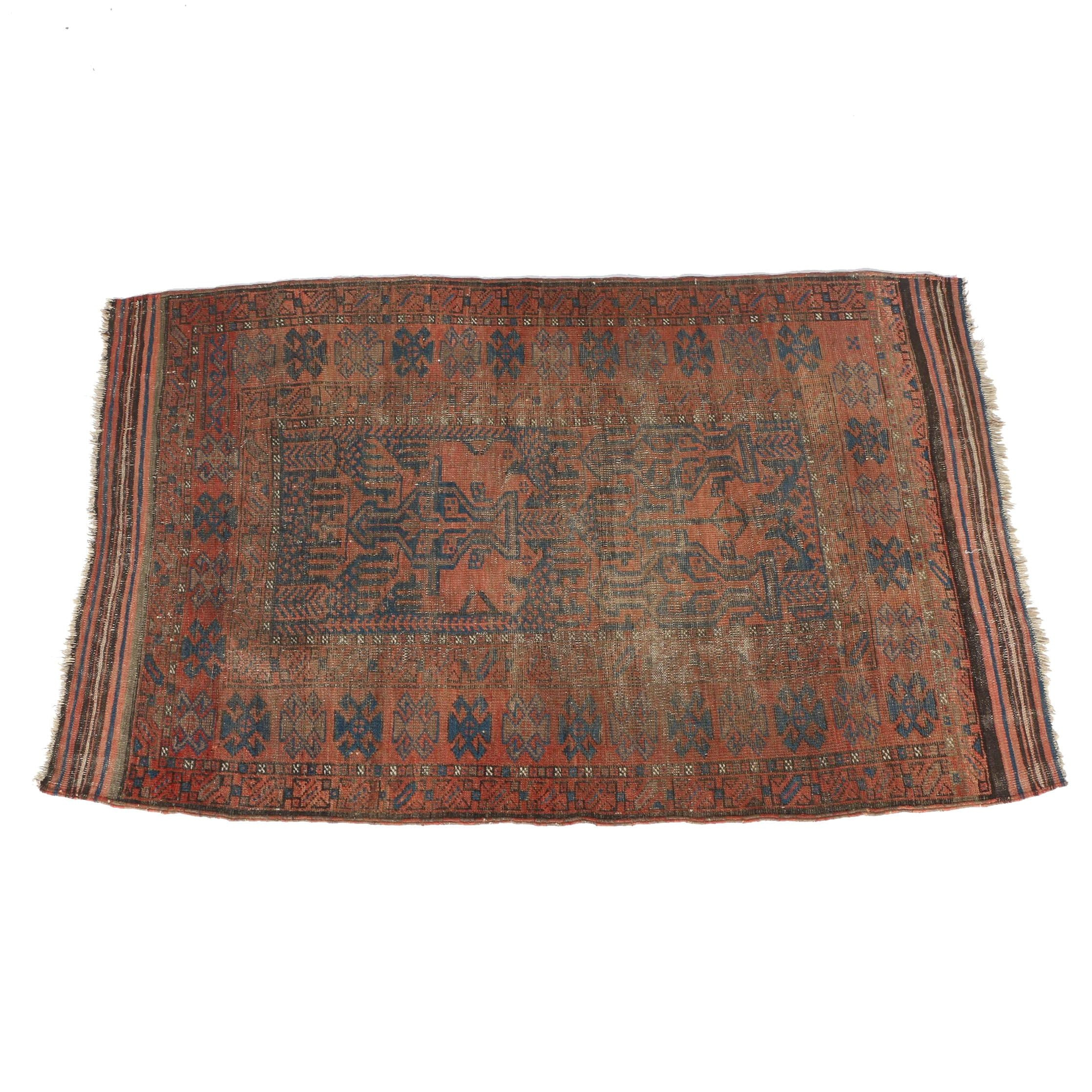 Antique Baluch Tribal Area Rug