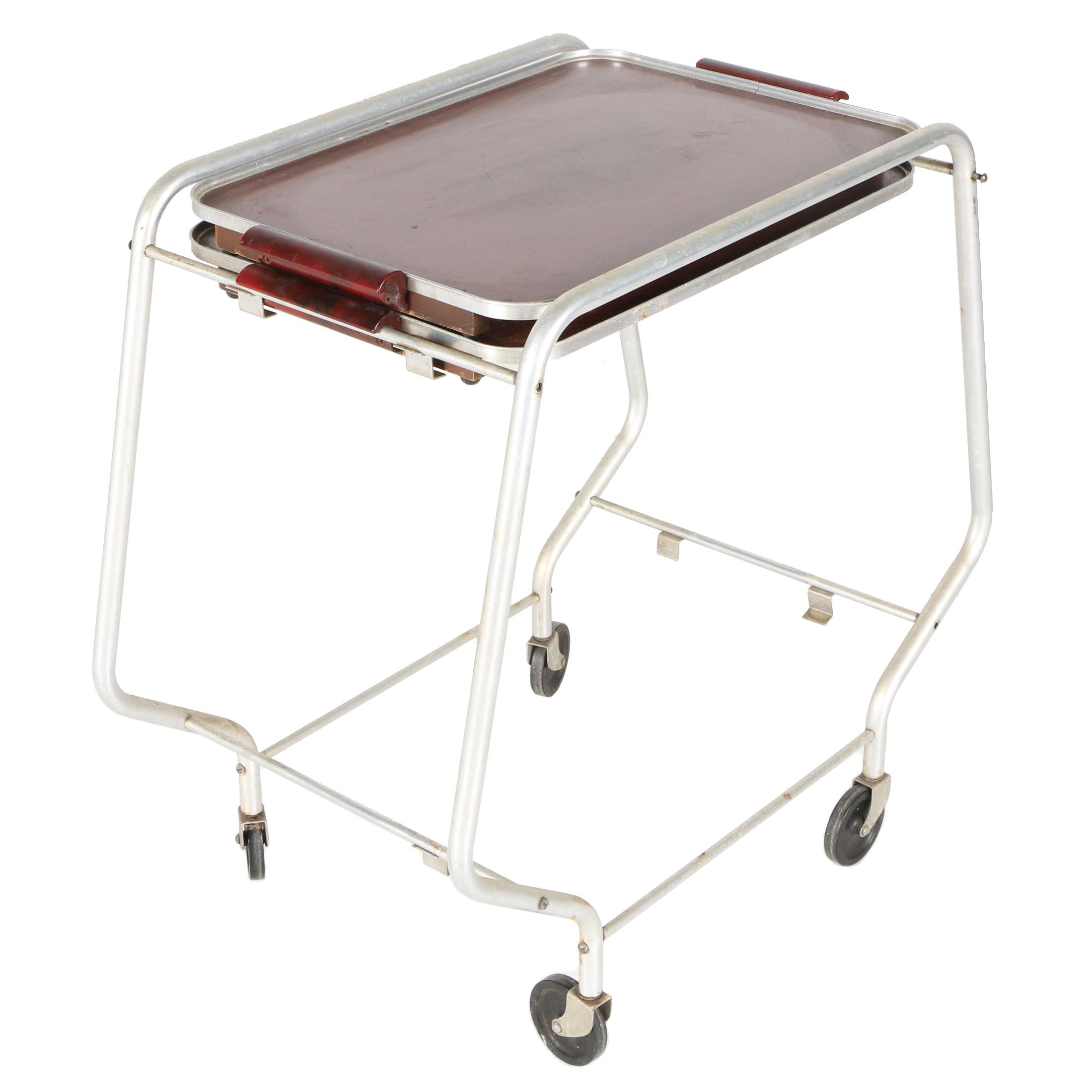 Butler Tray Bar Cart With Bakelite and Aluminum Frame