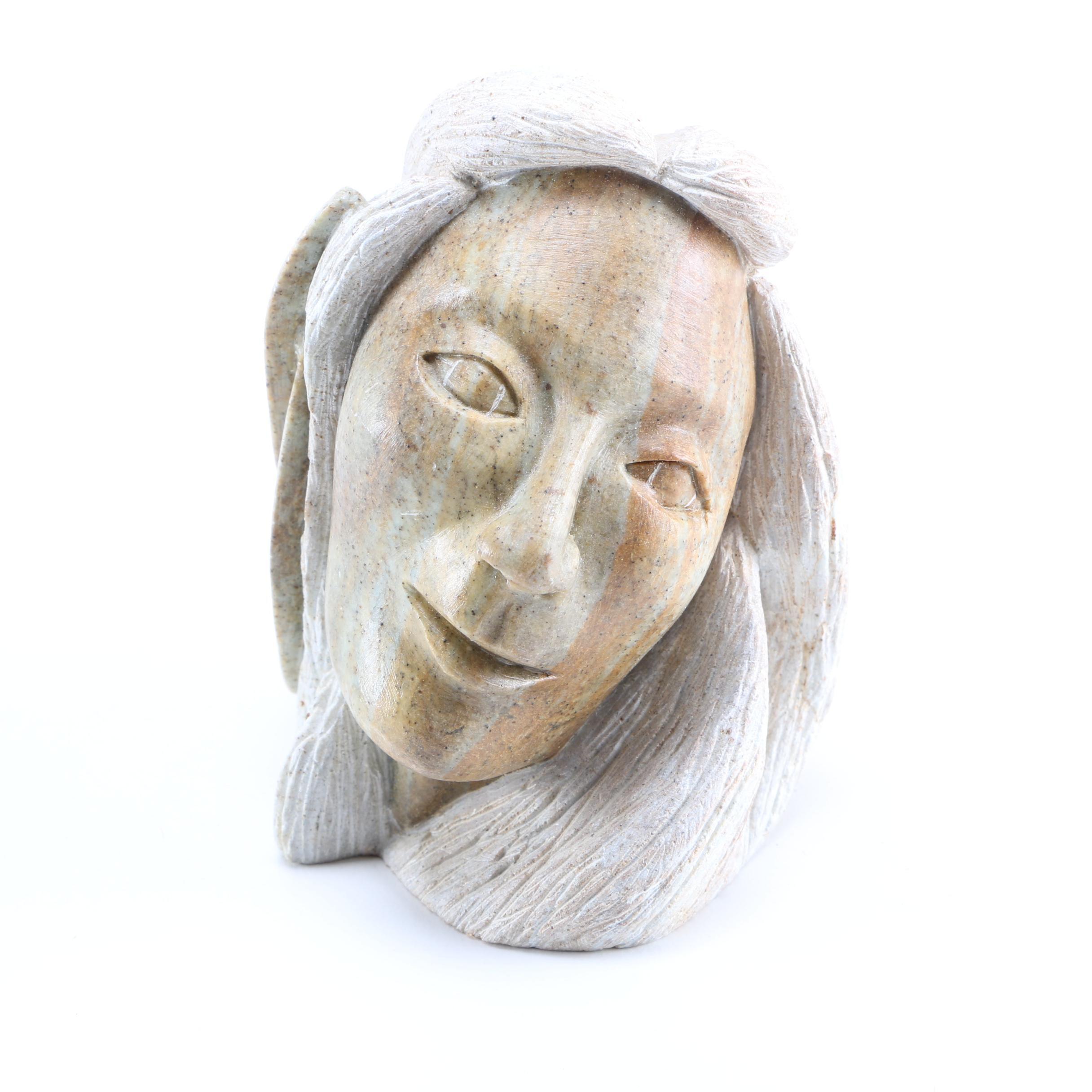 1993 Loreene Henry Soapstone Sculpture of a Woman