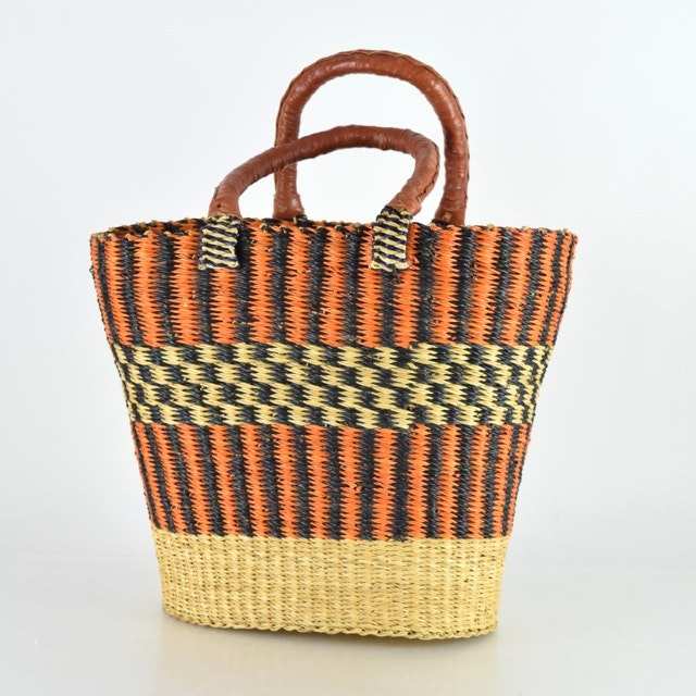 Handwoven African Leather-Handled Tote