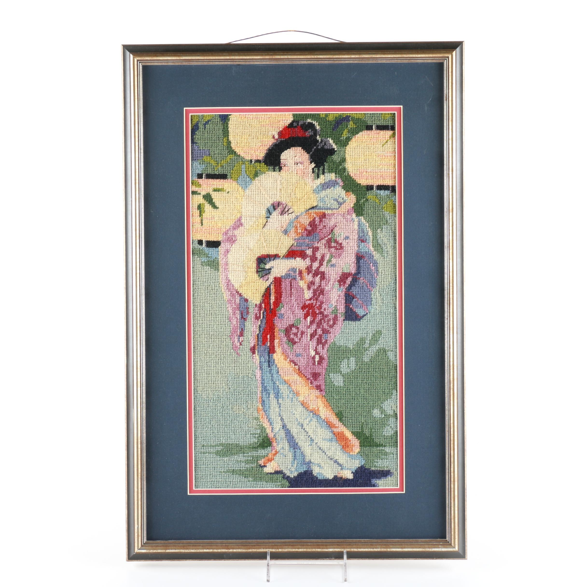 Framed Needlepoint Piece of a Japanese Woman