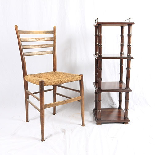 Rattan Chair and Plant Stand