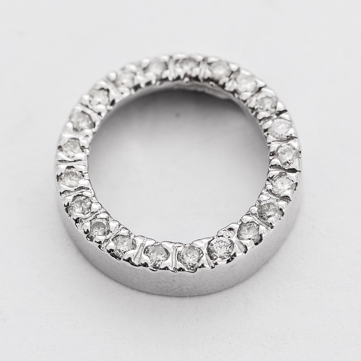 White Gold and Diamond Open Circle Pendant