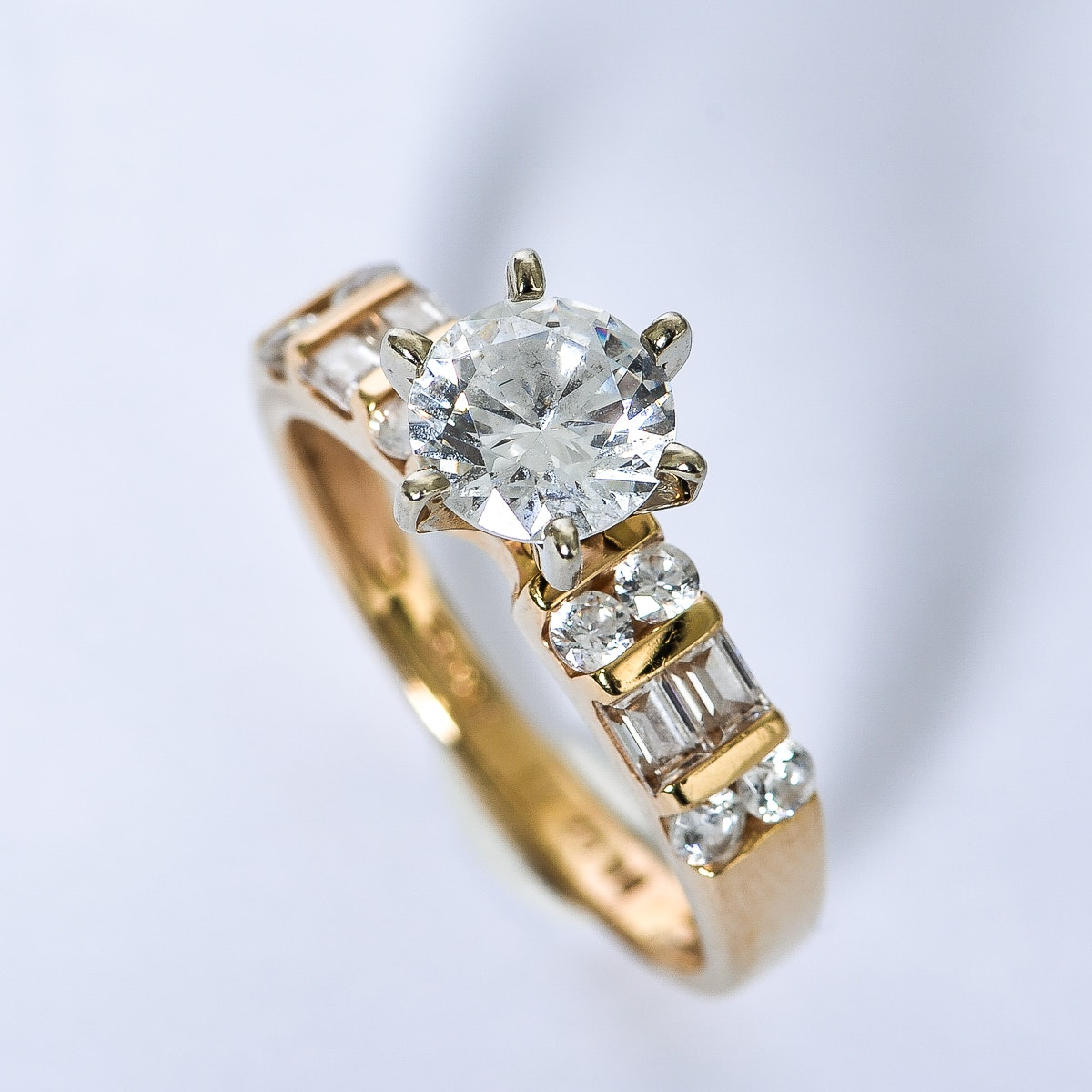 14K Yellow Gold and Cubic Zirconia Engagement Ring