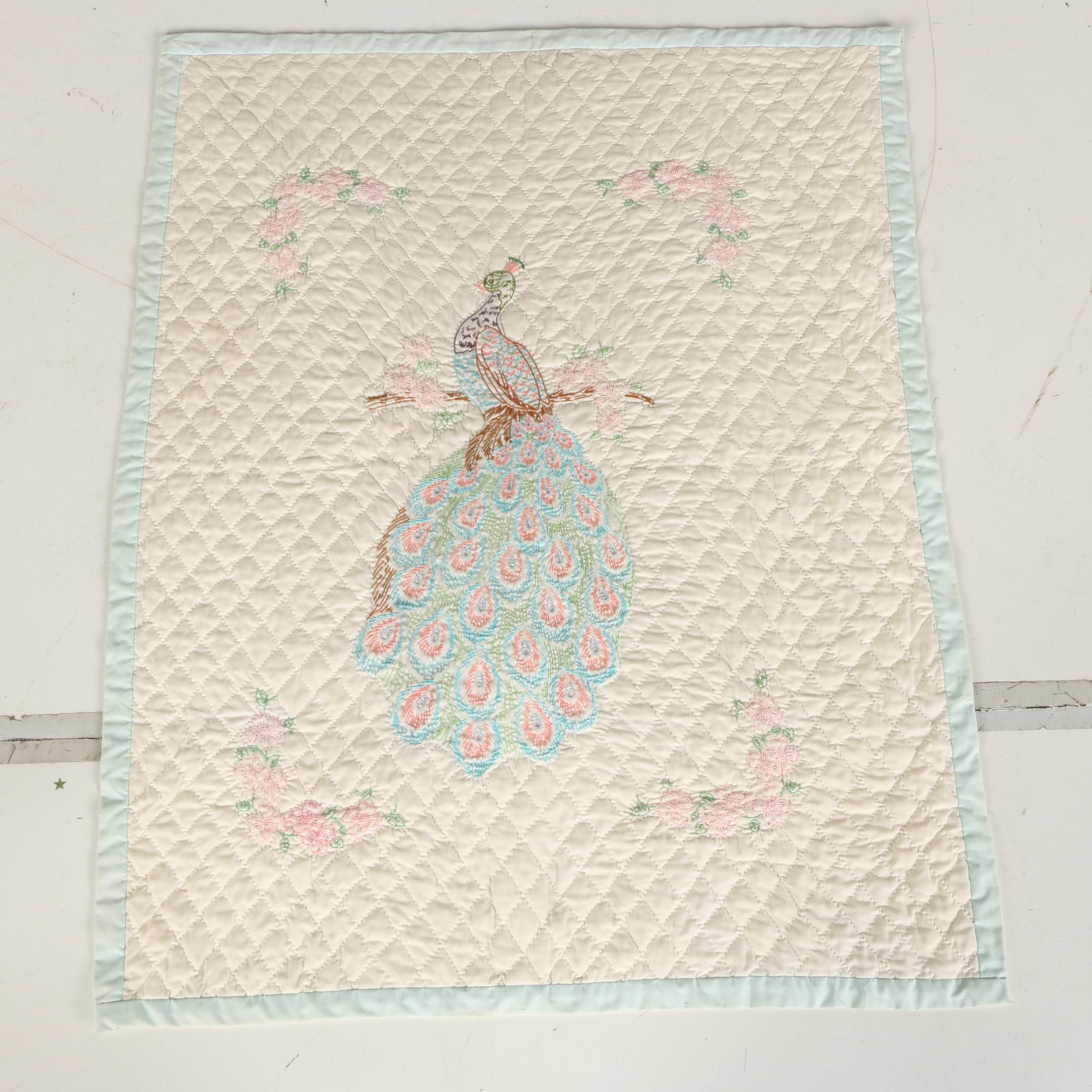 Handcrafted Embroidered Peacock Quilted Wall Hanging