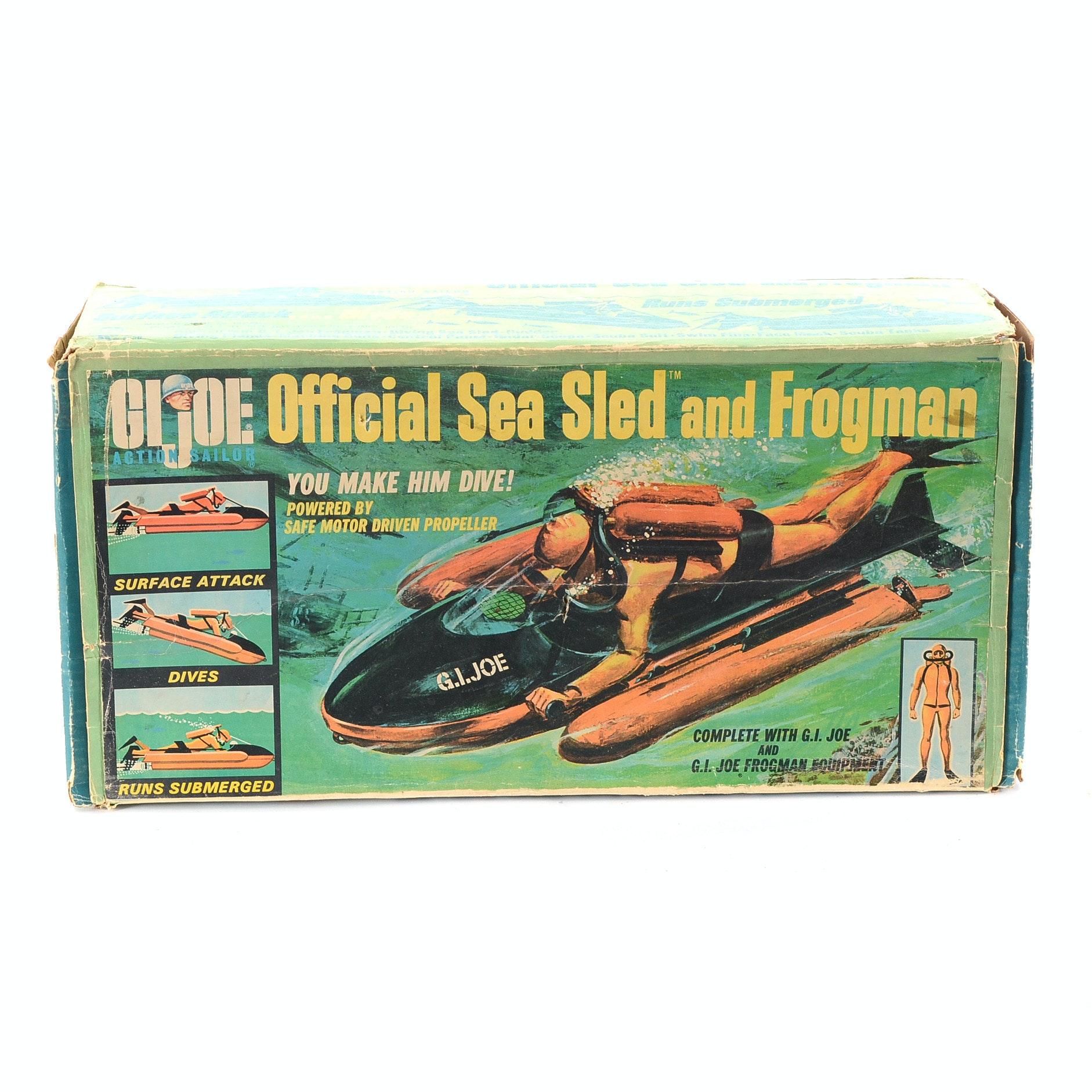 """1967 Vintage GI Joe """"Sea Sled"""" with Rare Frogman"""
