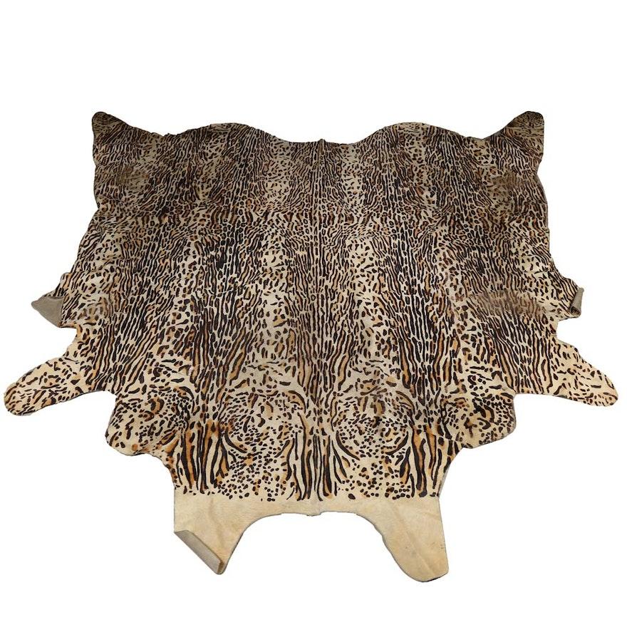 Hooked Leopard Hide Shaped Area Rug Ebth