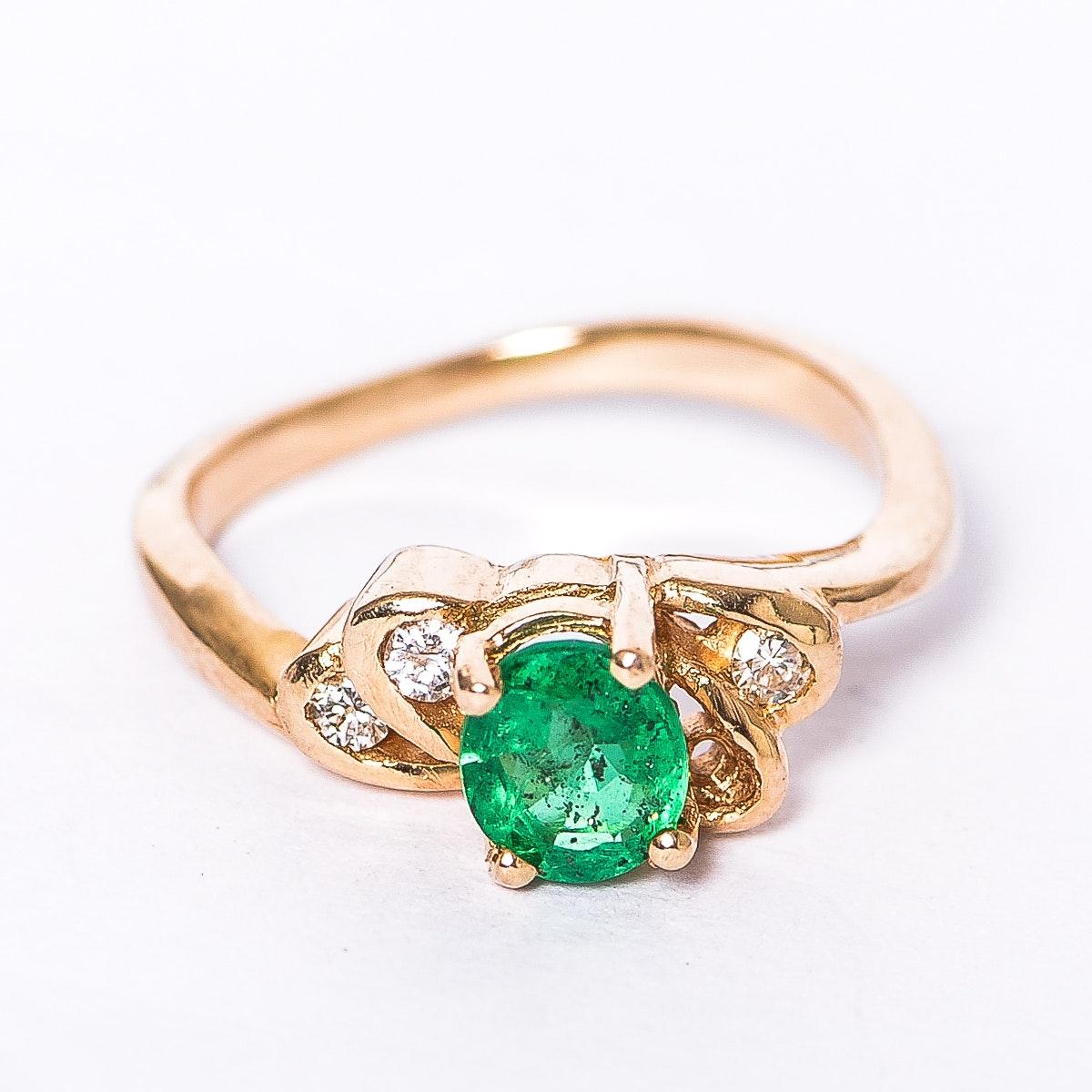 Yellow Gold, Emerald, and Diamond Ring
