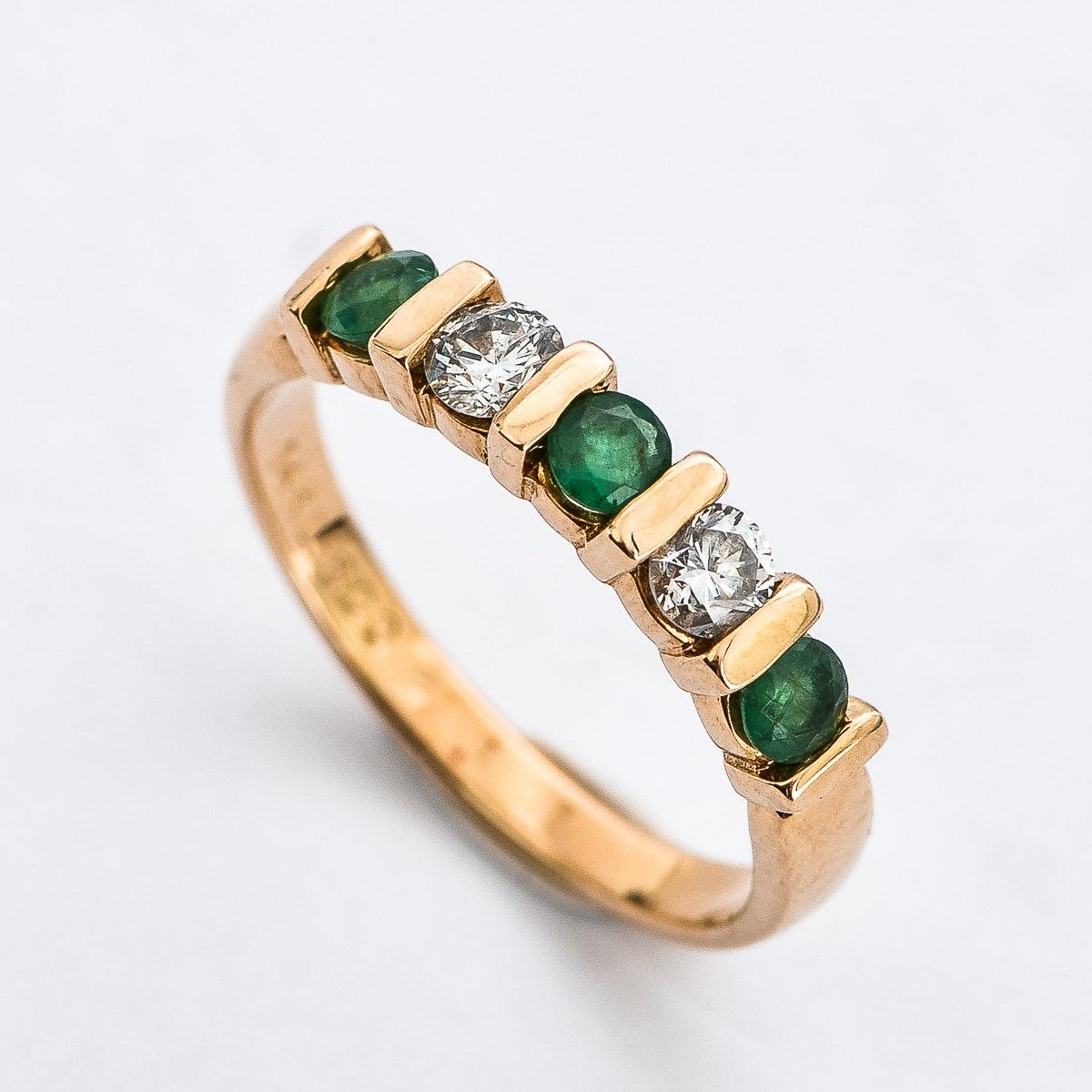 14K Yellow Gold, Emerald, and Diamond Band
