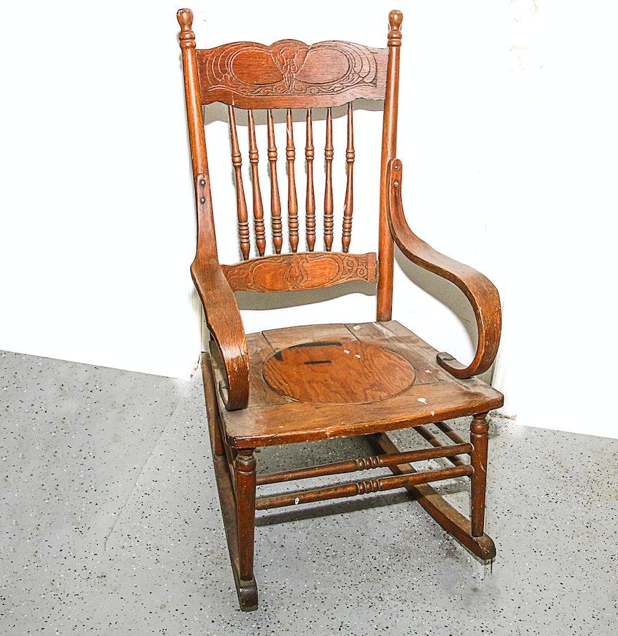 Pressed Oak Chairs ~ Antique pressed back rustic oak rocking chair ebth