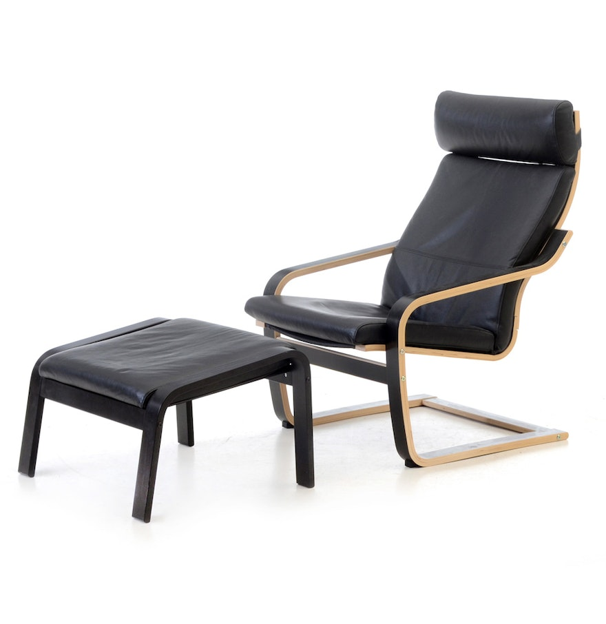 Ikea poang lounge chair and ottoman ebth for Ikea club chair