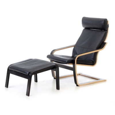 IKEA Poang Lounge Chair and Ottoman