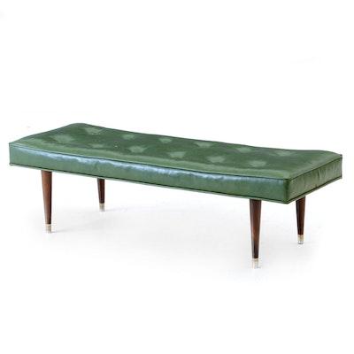 Vintage Green Vinyl Footstool