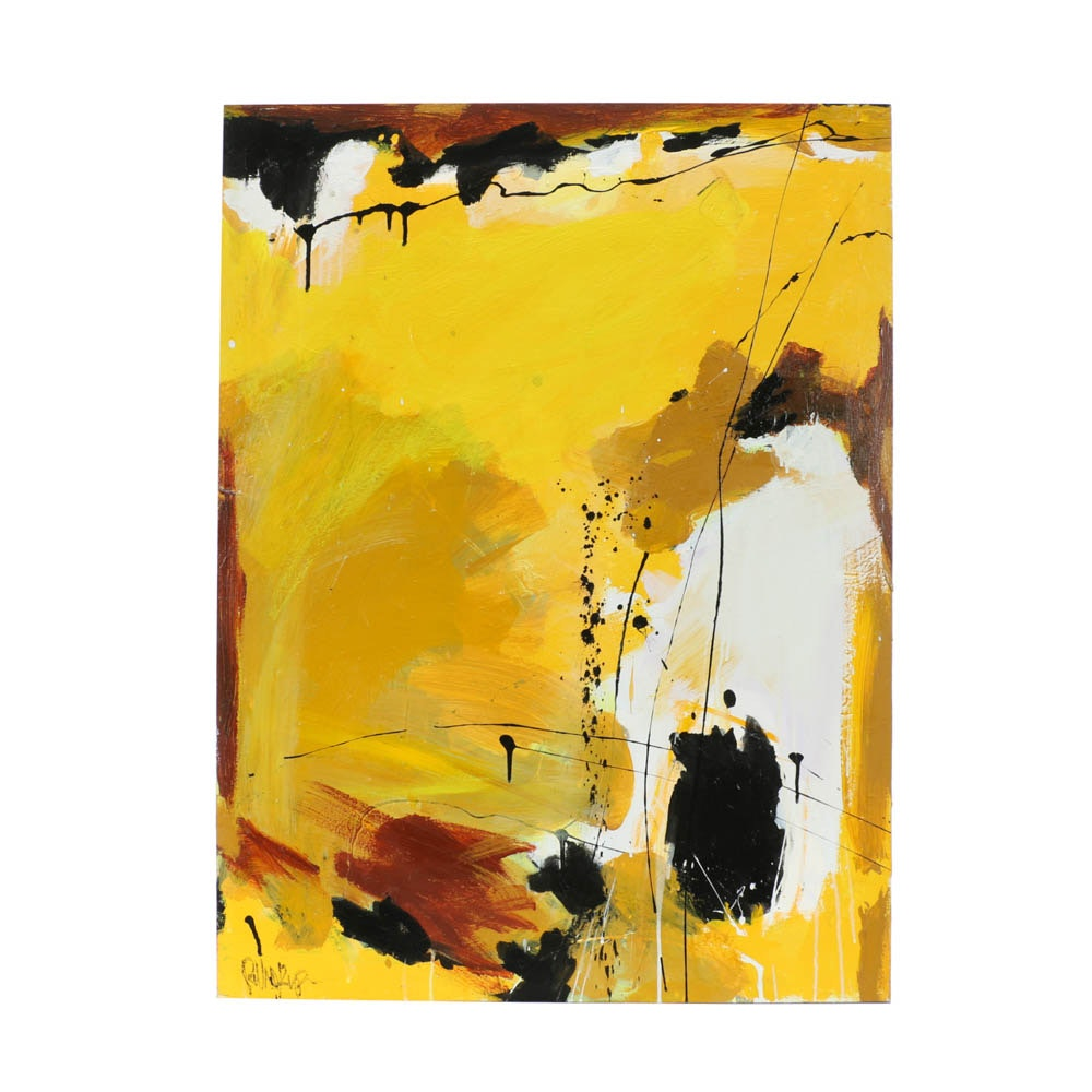 "Robbie Kemper Original Acrylic on Canvas ""Yellow & Ochre"""