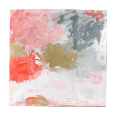 "Robbie Kemper Original Acrylic on Canvas ""Silver & Gold"""
