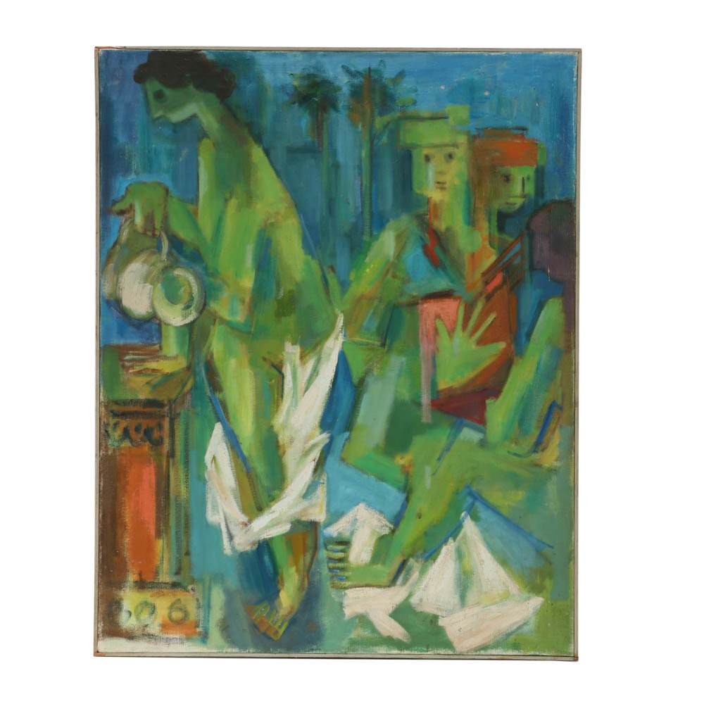 Original Abstract Expressionist Figurative Oil on Canvas