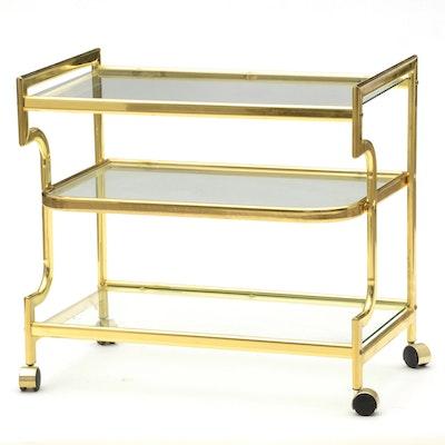 Vintage Serving Cart in Brass