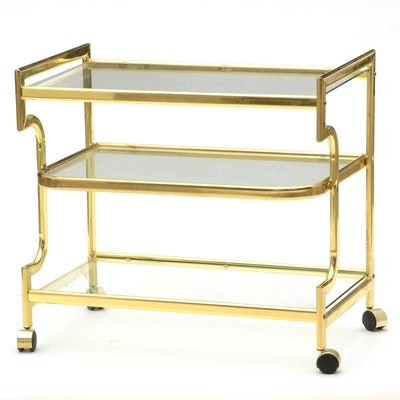 Vintage Serving Cart in Brass