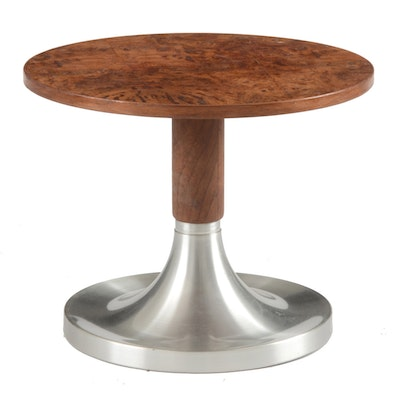 Burled Walnut and Aluminum Occasional Table