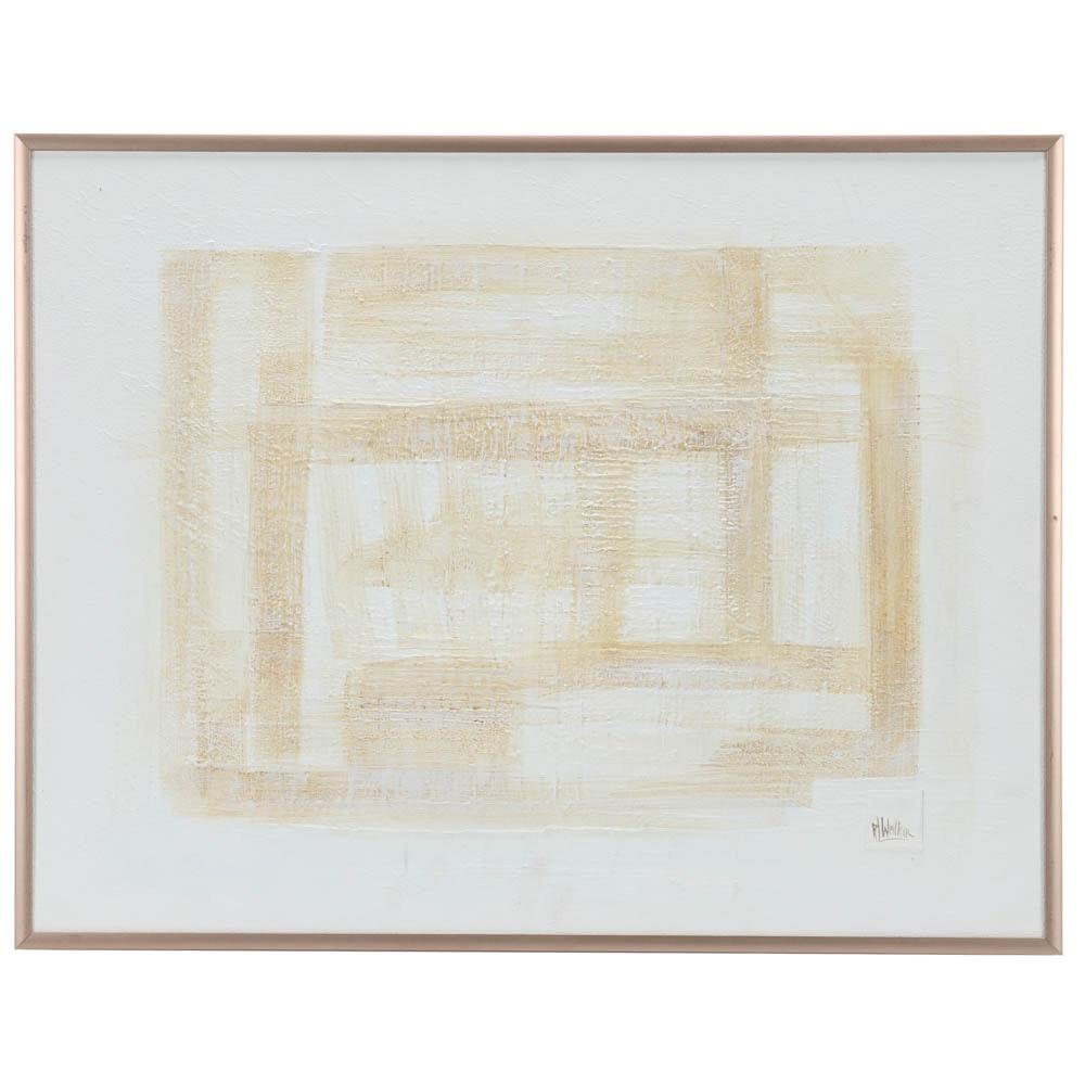 R. Walker Original Abstract Geometric Minimalist Oil on Canvas