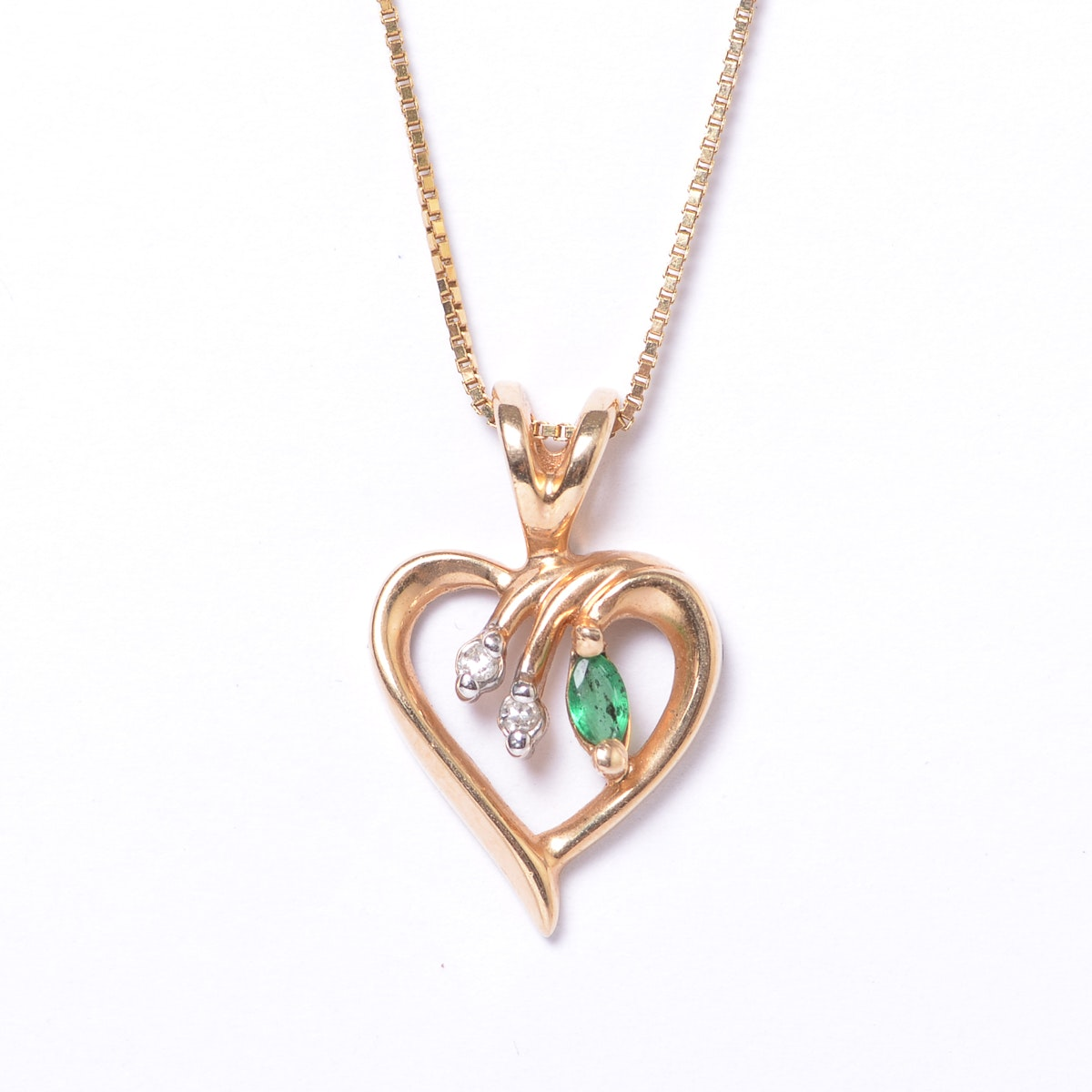 14K Yellow Gold, Emerald, and Diamond Open Heart Pendant Necklace