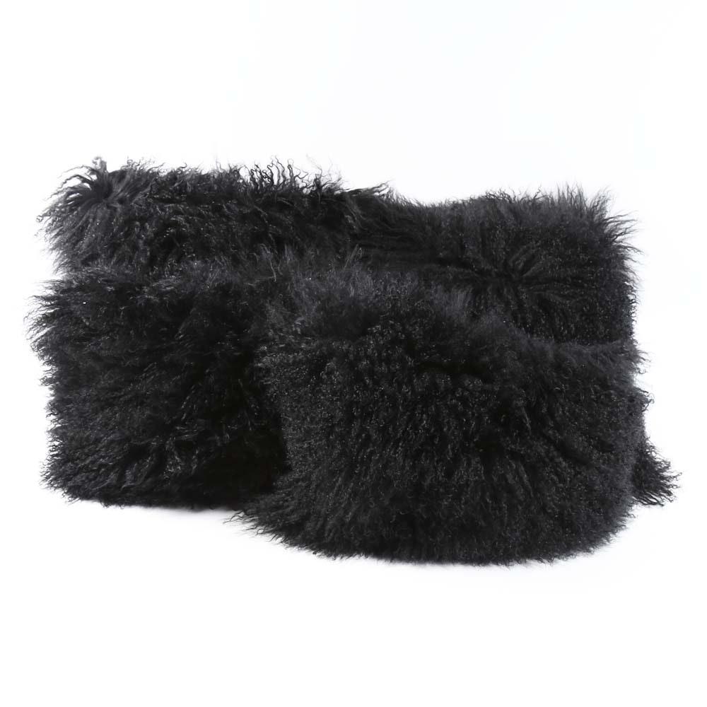 Black Faux Fur Toss Pillows