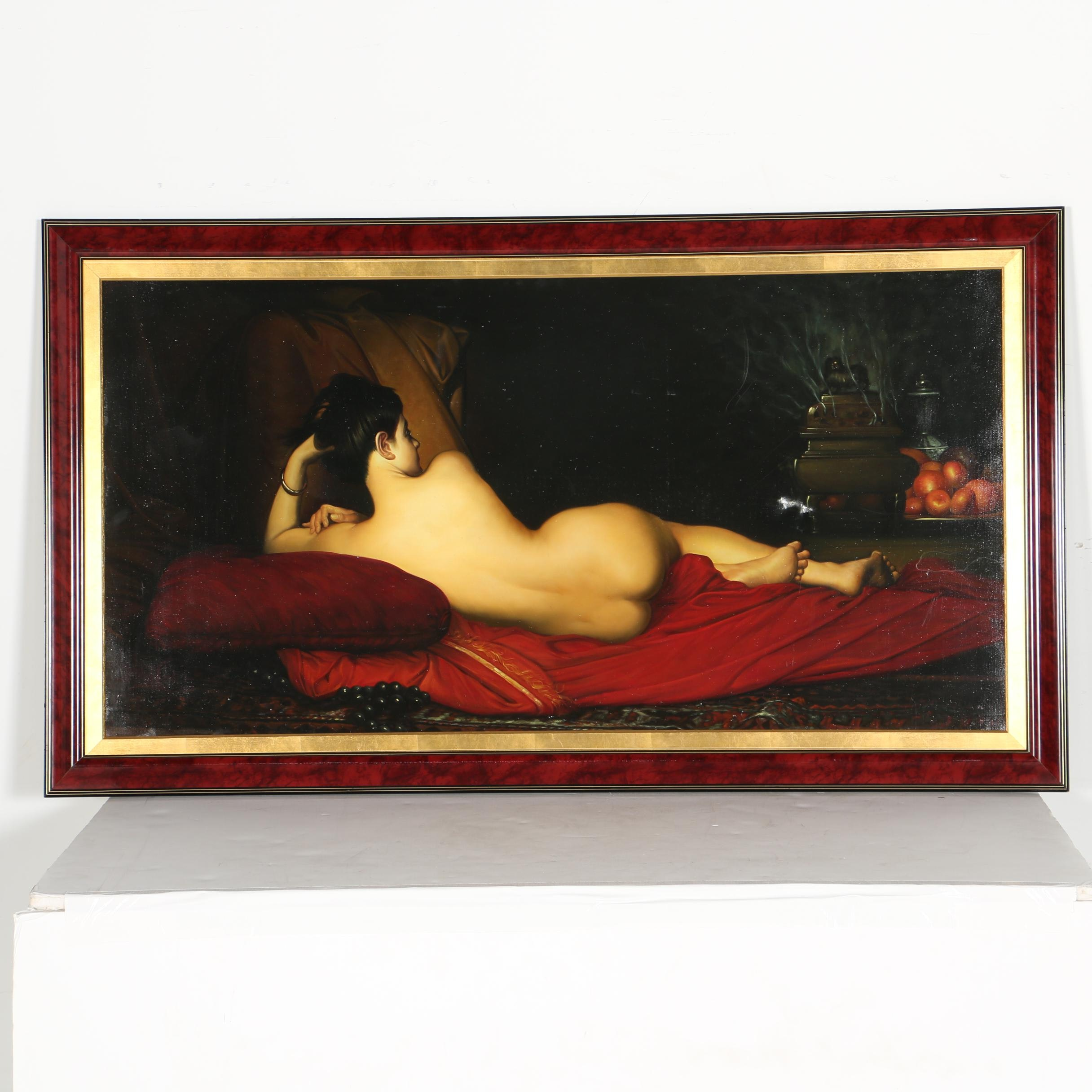 """Oil on Canvas Painting After Jules Joseph Lefebvre """"Odalisque"""""""