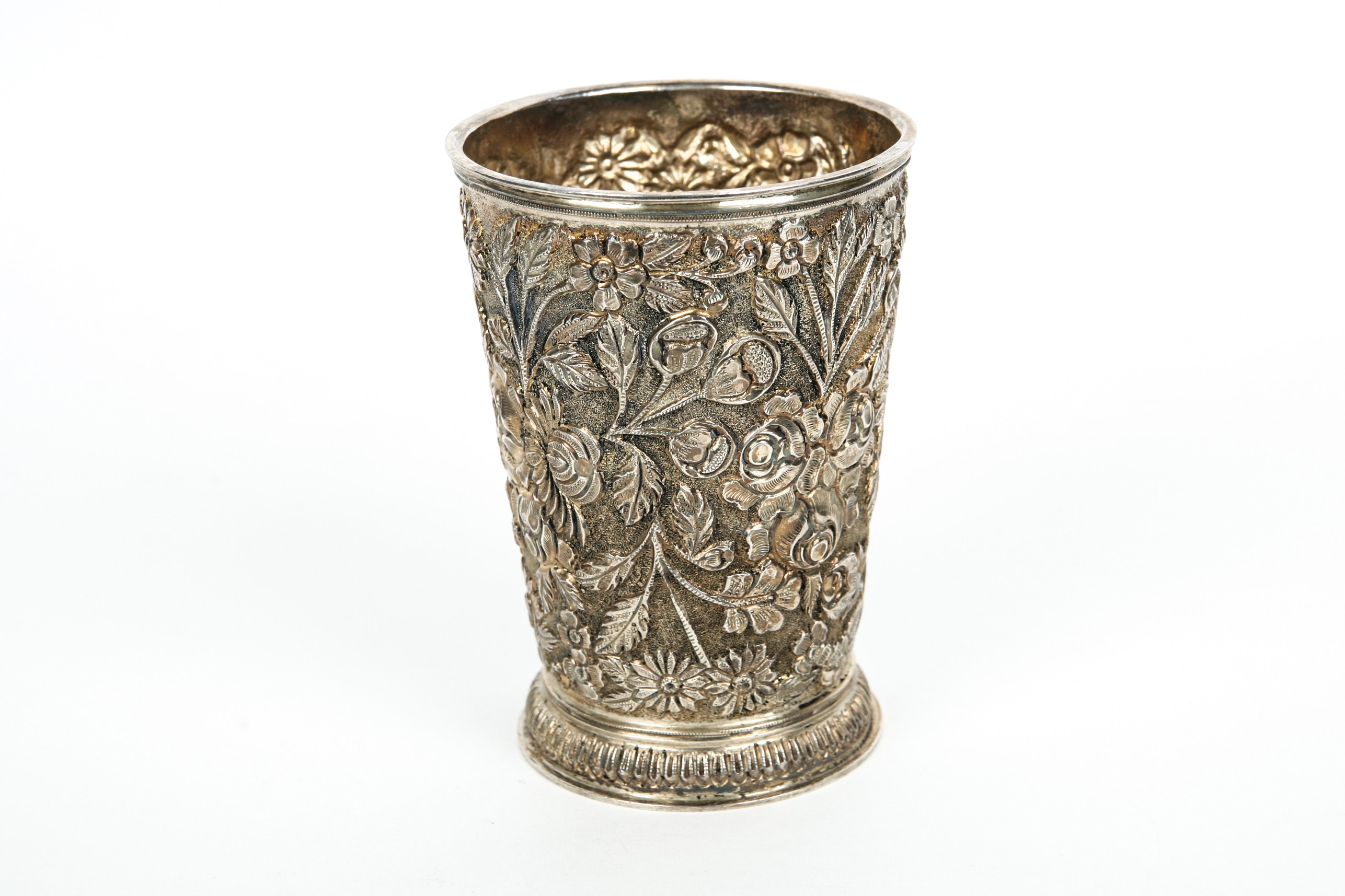 """Sterling Silver Julep Cup in the """"Baltimore Rose"""" Pattern"""