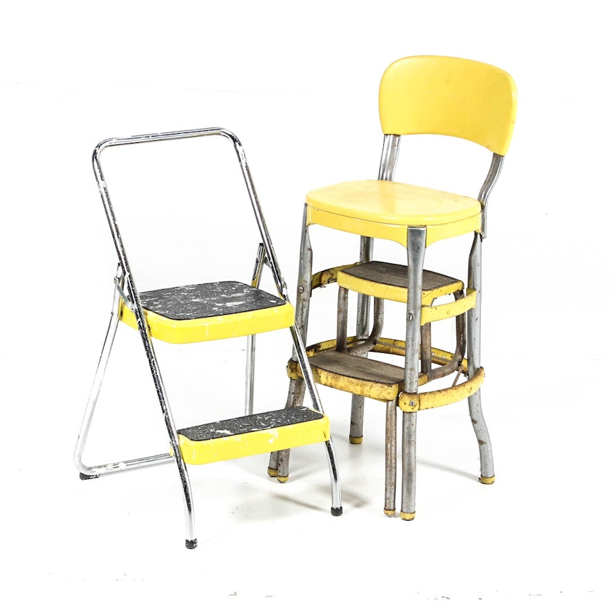 Amazing Vintage Cosco Kitchen Stool And Step Ladder Caraccident5 Cool Chair Designs And Ideas Caraccident5Info