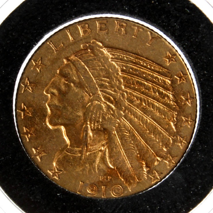 1910 Indian Head Five Dollar Gold Coin