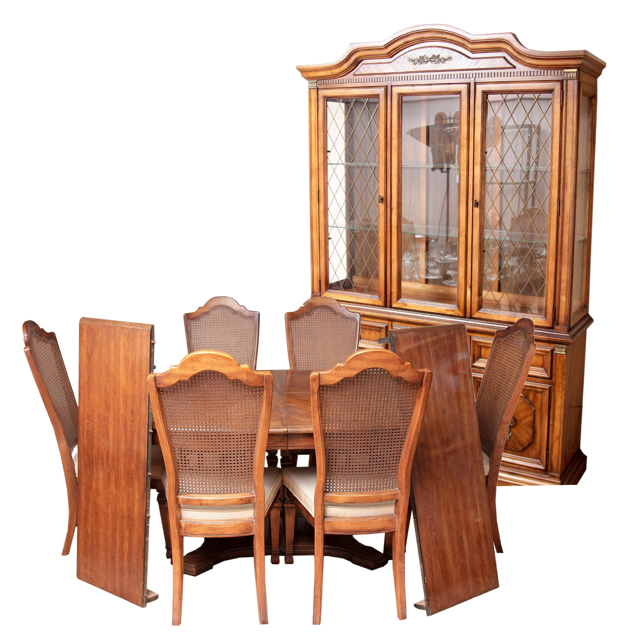 Stanley Furniture China Cabinet With Complementary Dining Table And Cane  Back Chairs ...