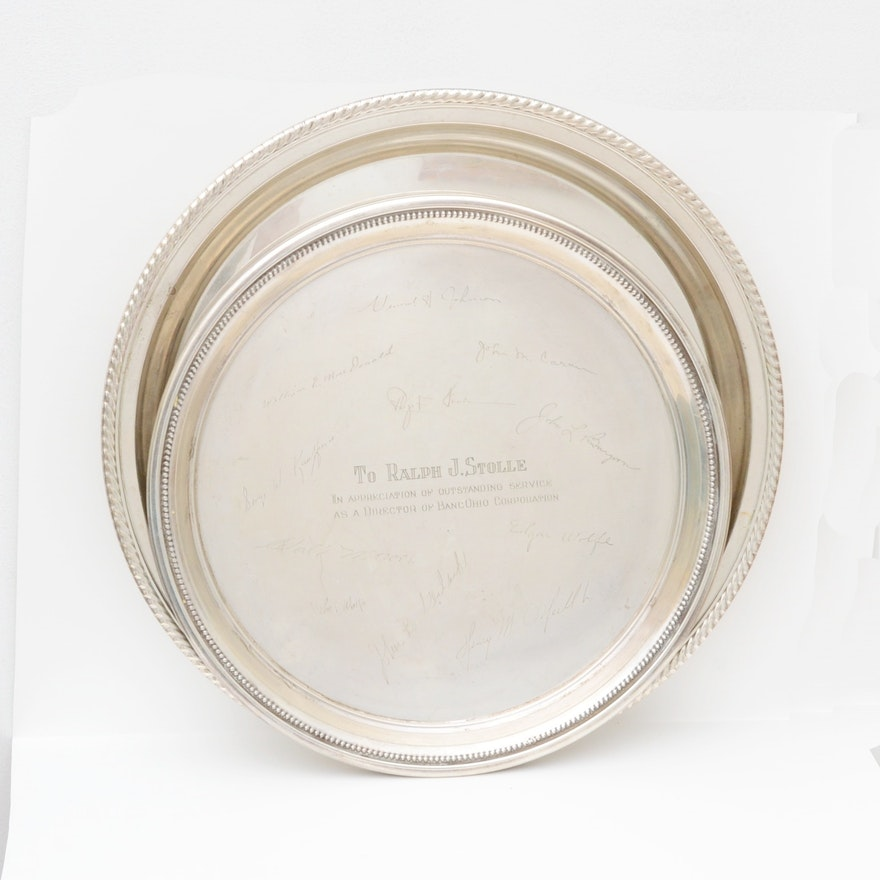 gorham and randahl engraved sterling serving trays ebth