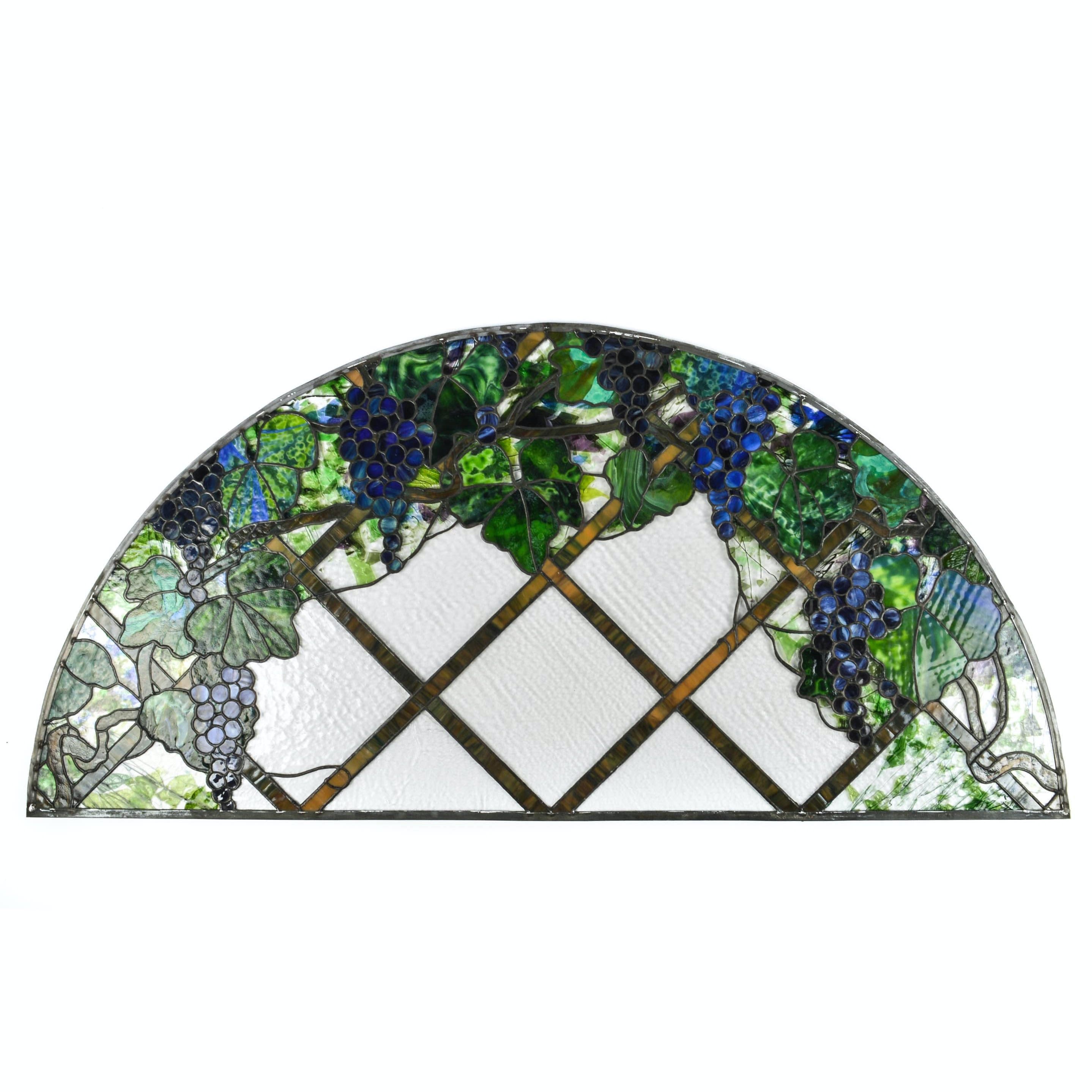 Salvaged Demi-Circle Stained Glass Window Panel