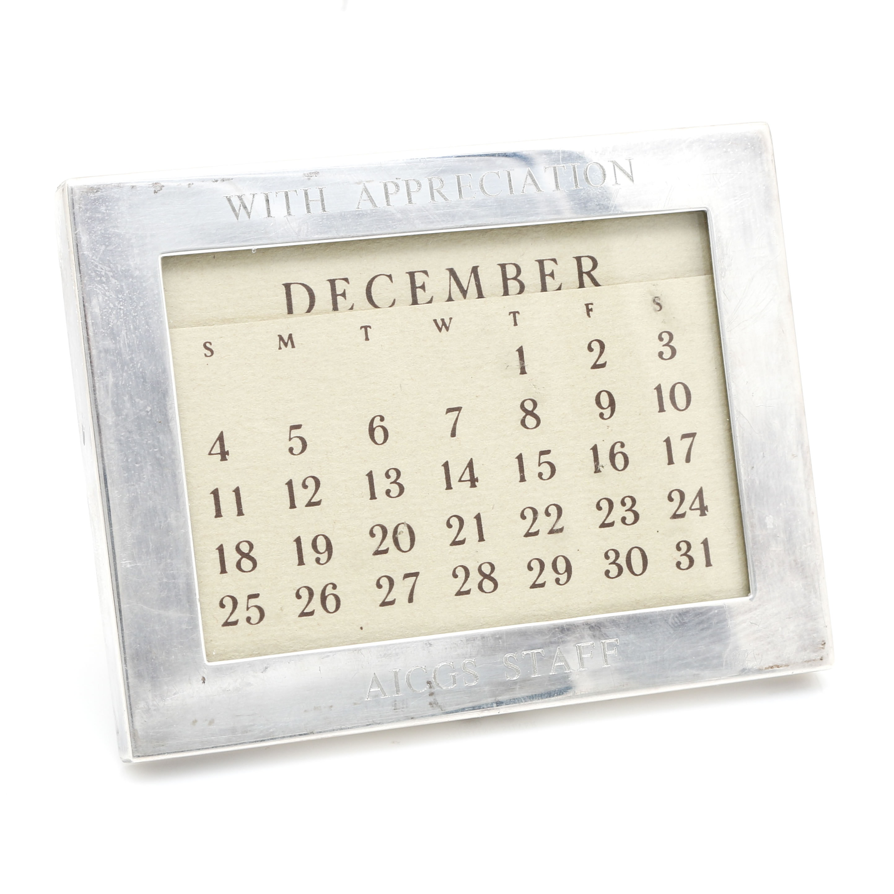 Tiffany & Co. Sterling Silver Desk Calendar
