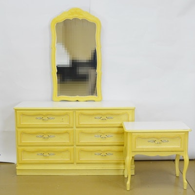 Six Drawer Dresser With Mirror and Nightstand Set