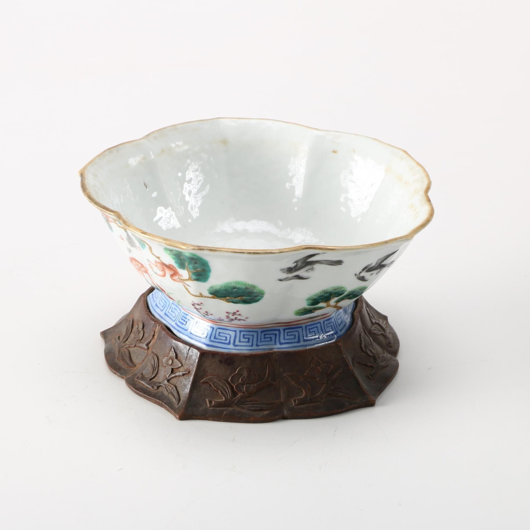 Chinese Ceramic Bowl With Wooden Stand