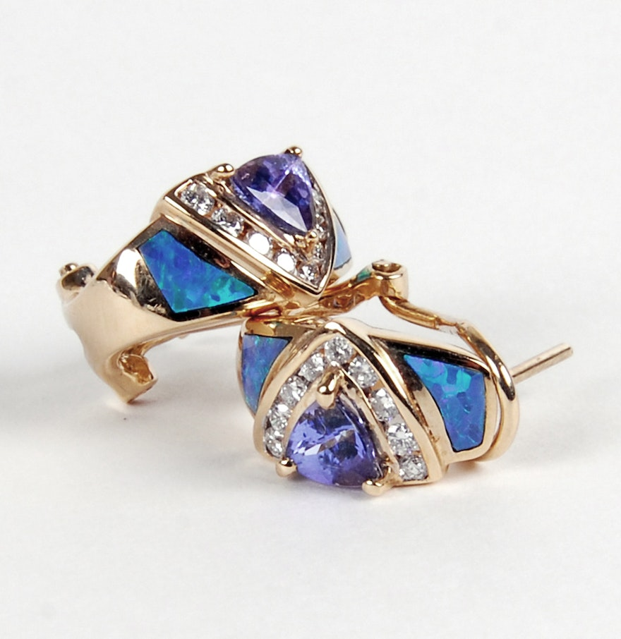 14k Yellow Gold Diamond, Tanzanite And Opal Inlay Earrings By Le Vian