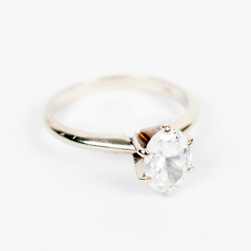 14K White Gold and Cubic Zirconia Solitaire Ring