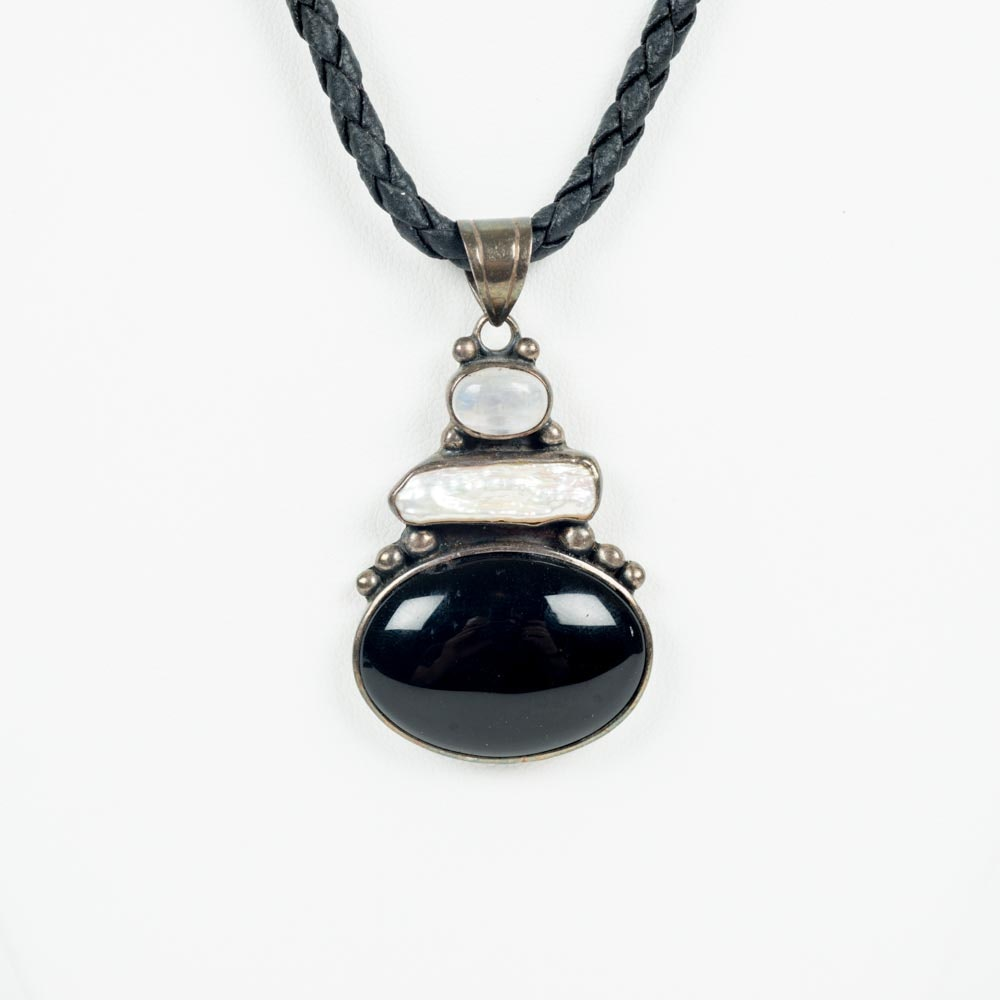 Black Leather Necklace with Garnet, Moonstone and Freshwater Pearl Pendant