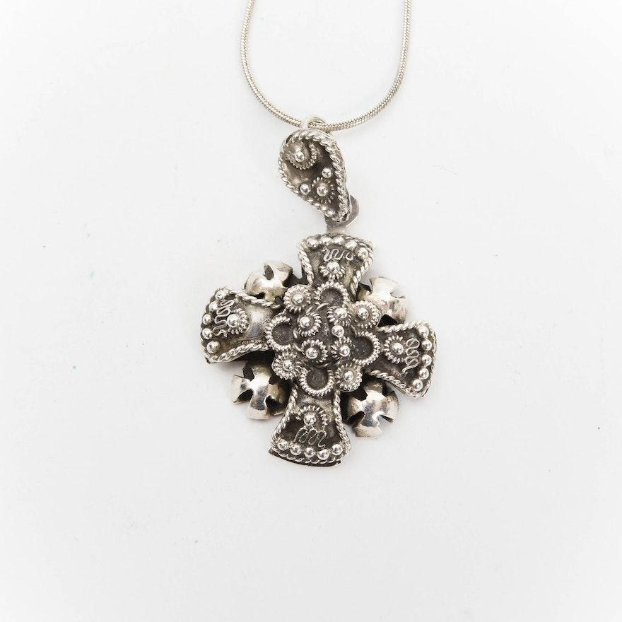 Vintage mexico sterling silver jerusalem cross pendant necklace ebth vintage mexico sterling silver jerusalem cross pendant necklace aloadofball Images