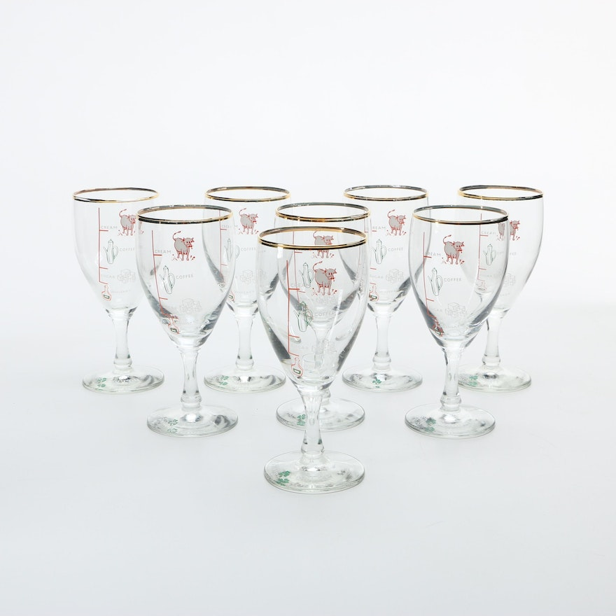 Vintage Mid Century Set Of Stemmed Irish Coffee Gles