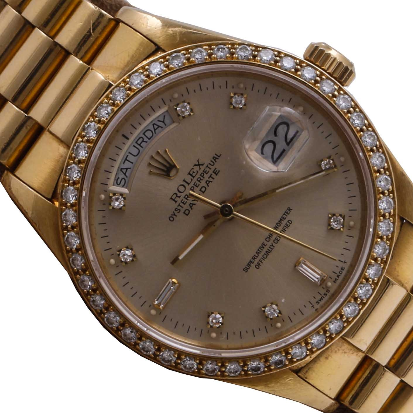 18K Yellow Gold 1.34 CTW Diamond Rolex Oyster Perpetual Wristwatch