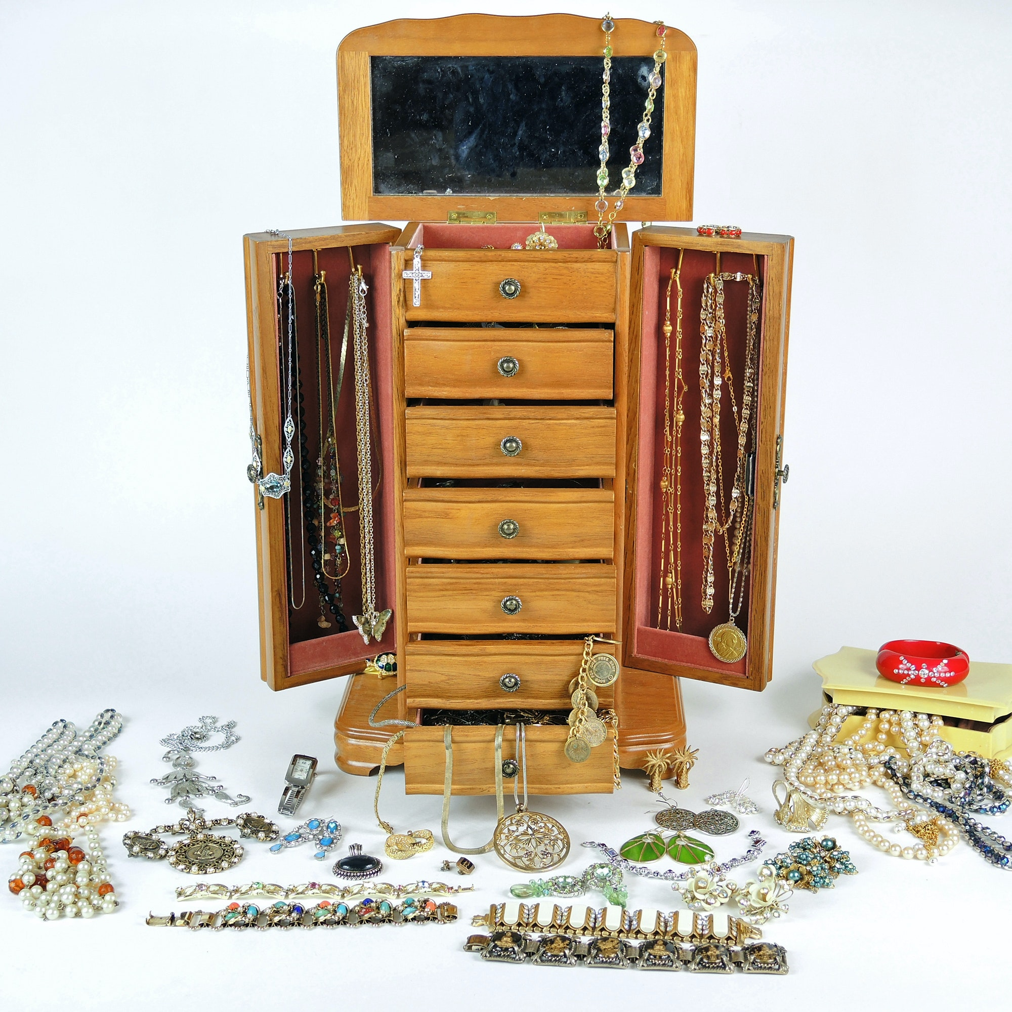 Costume Jewelry Assortment and Oak Chest