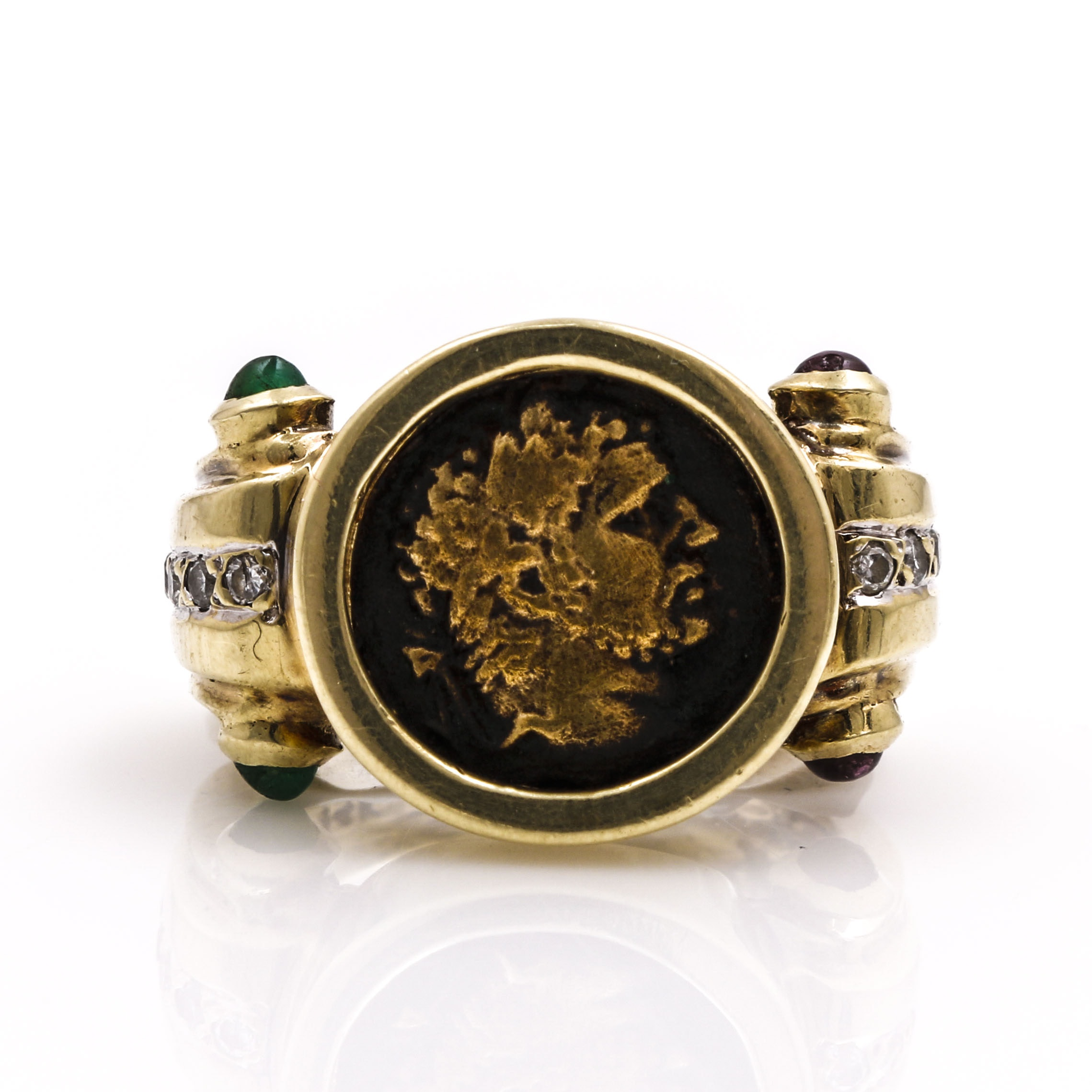 14K Yellow Gold Diamond and Gemstone Sovereign Ring