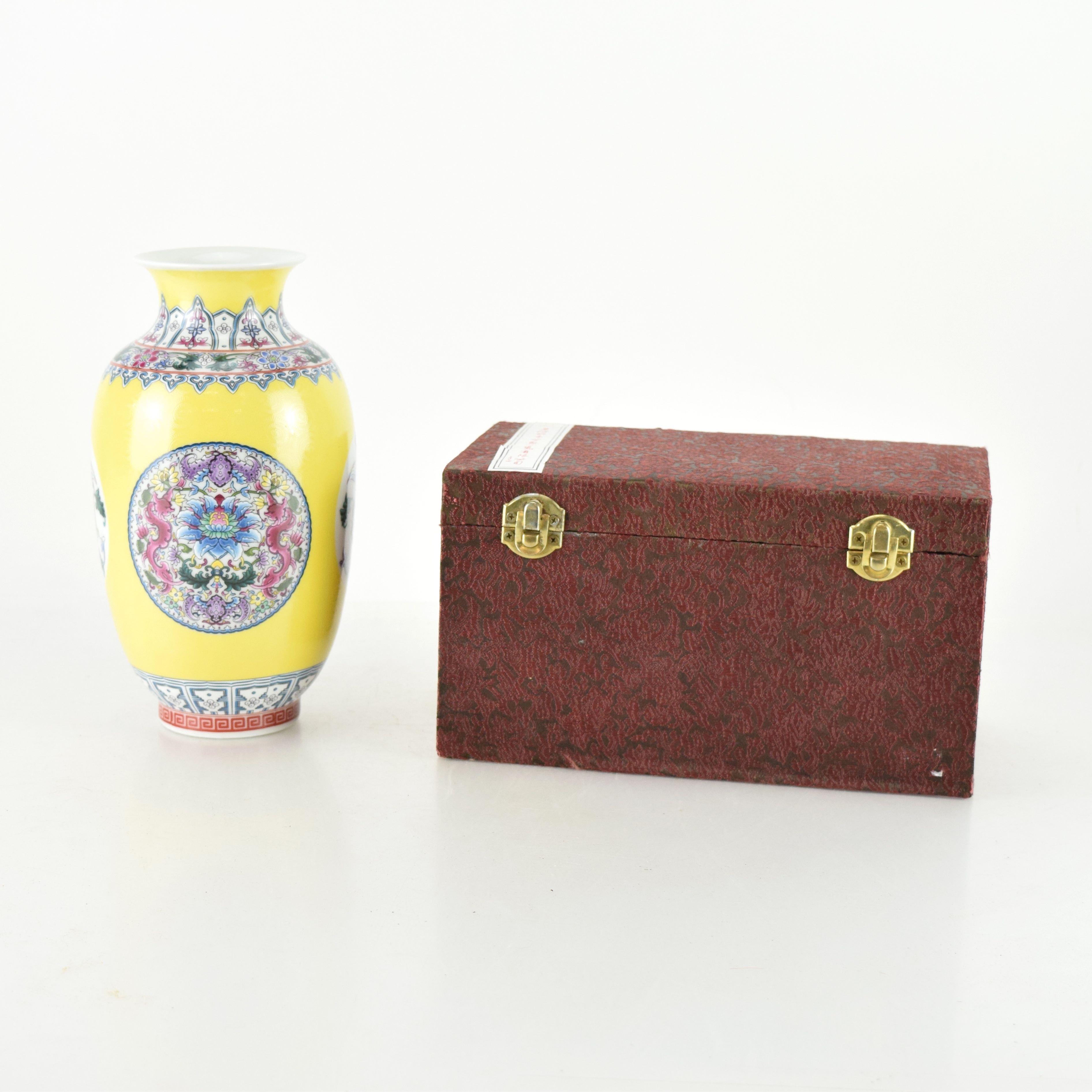 Chinese Porcelain Vase in Case